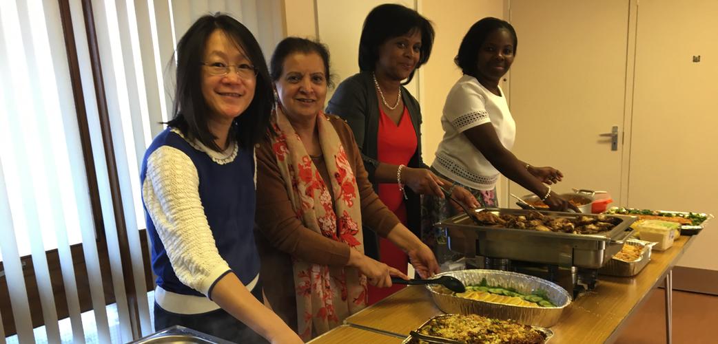 Ladies group serving brilliant food